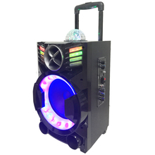 Cheap price 8 inches rechargeable led light vibration party speaker