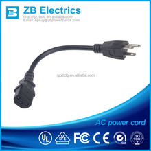 Hot sale USA ZB-03E 3 pin plug power cord 3 cores UL CUL approved 125V NEMA5-15P to IEC 320-C13 Connector US power cords ZB-03QT