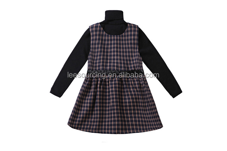 Boutique kids girl sets 2 pieces high neck long sleeve sweater and plaid frock slim dress