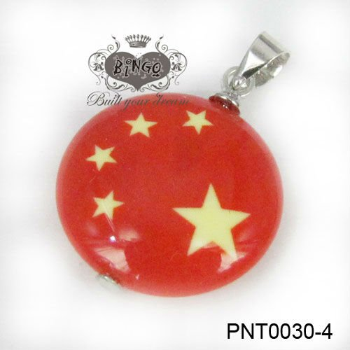 Flag Jewelry Charm Red Flag China Flag Murano Glass Pendant