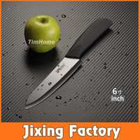 "TJC-004BK 6"" Santoku Ceramic Chef Knives with ABS+TPR handles Black Made in Yangjiang Factory"