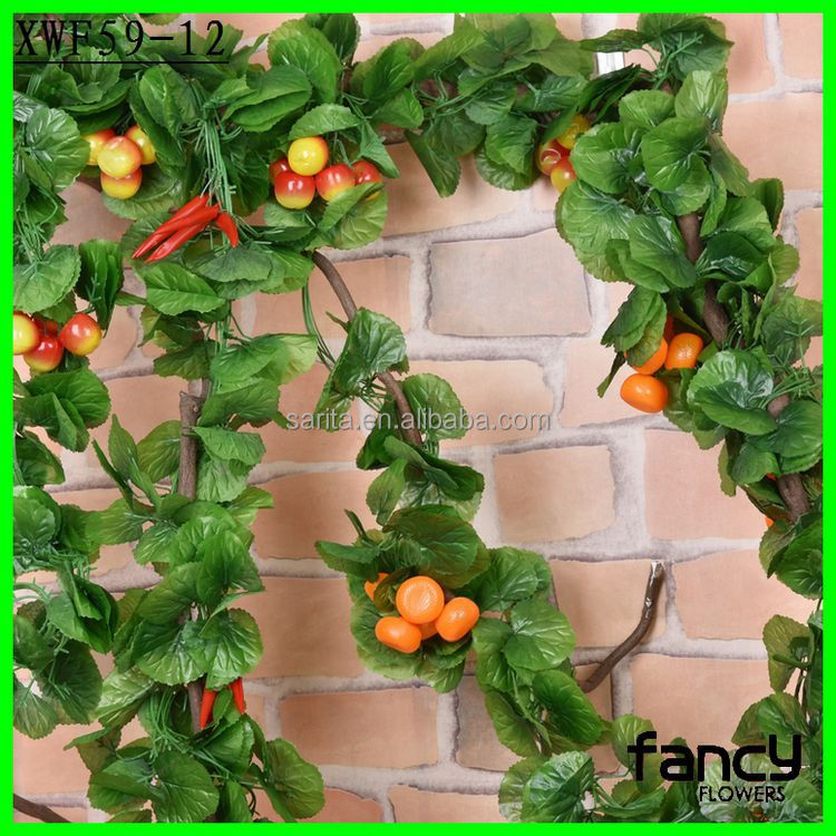 240 cm height ivy leaf extract with 44 pieces of leaves and 4 pieces of fruits for garden decoration
