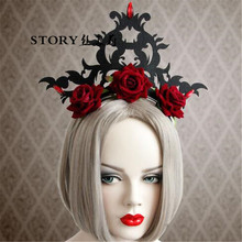 cosplay hallowwen party women adult gothic <strong>hair</strong> <strong>accessories</strong> evil crown tiara red rose flower with rhinestones <strong>hair</strong> band headband