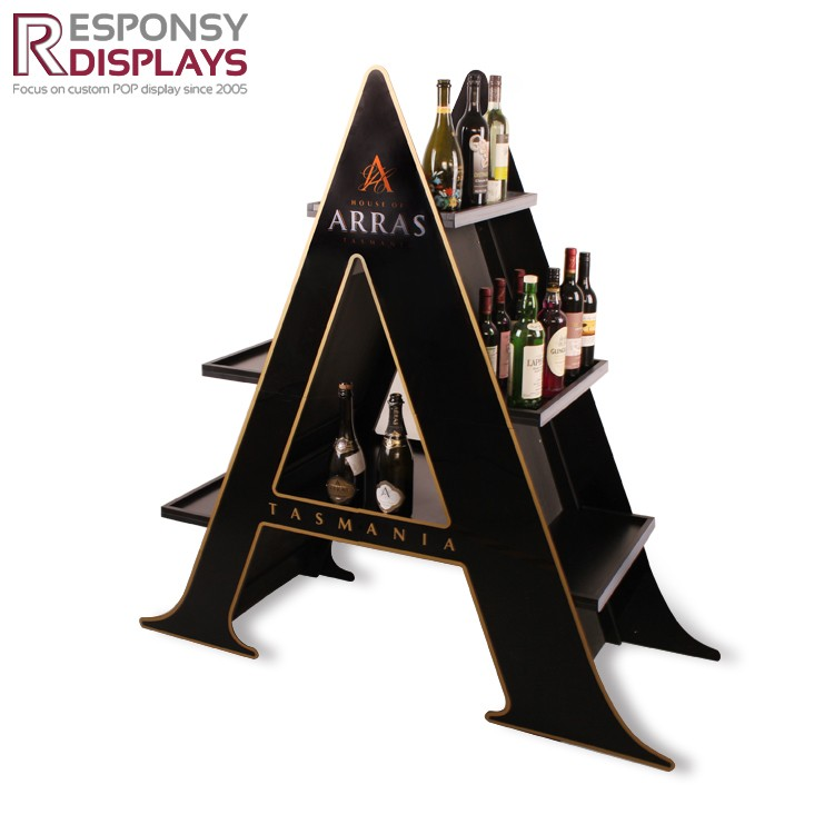A Character Wine 3D Display Shelf Two-sided Acrylic And Wood Cell Floor Display Stand