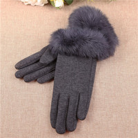 full finger fitness ladies fur trim gloves