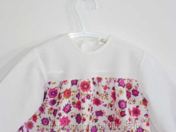 Girls fancy cotton frock floral printed long sleeve baby girl dress