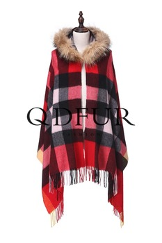QD82034 Ladies Blue And White Striped Scarves Wholesale Cashmere Poncho
