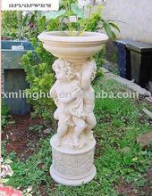 Garden Stand White Polyrein Angel Flower pot