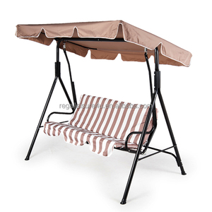 outdoor patio steel 4-seat swing chair garden with reclining canopy