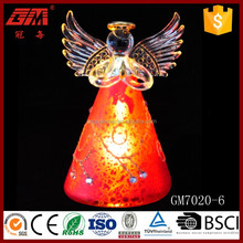 LED red light up glass angel ornament