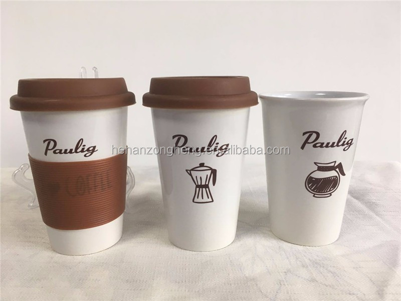 Take away 13oz customize logo ceramic mug with lid and handle
