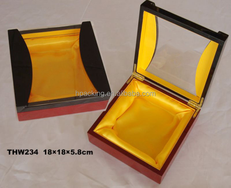 luxury ramadan gift wooden box with clear PVC winder