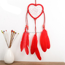 Handmade Dream Catcher Net Love Heart Shape Dream Catcher with Feather Hanging Decoration Home Decor Craft White