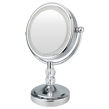 8 Inch Chrome Paint Double Sided Salon Table 10x Magnifying Lighted Makeup LED Mirror