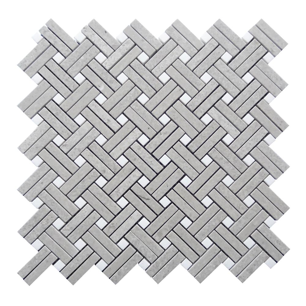 kb stone new design nordic gray cinderella modern backsplash basketweave with carrara white dots