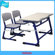 Double School Furniture Attached School Desk And Chair