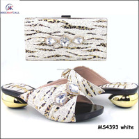 2016 Top fashion high quality Best Selling White color Shoes And Bag With Crystal For Ladies dress matching
