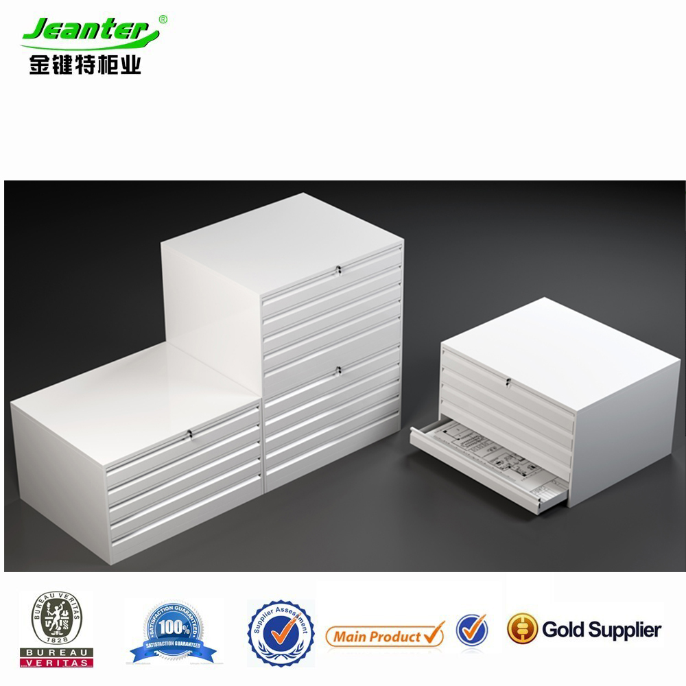 Guangzhou commercial metal office furniturel Large Chest of Drawers with 5 drawers, A0 map cabinet