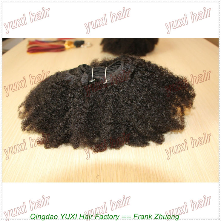 yuxi hair brand Top selling afro kinky curly human hair extension