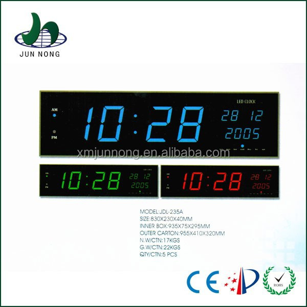 Cheap top quality large electric led calendar wall clock