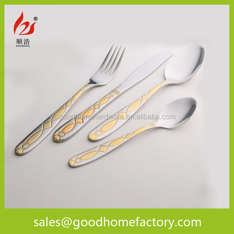 Mirror Polish Stainless Steel Tableware Gold Plated Cutlery,High quality hotel flatware set