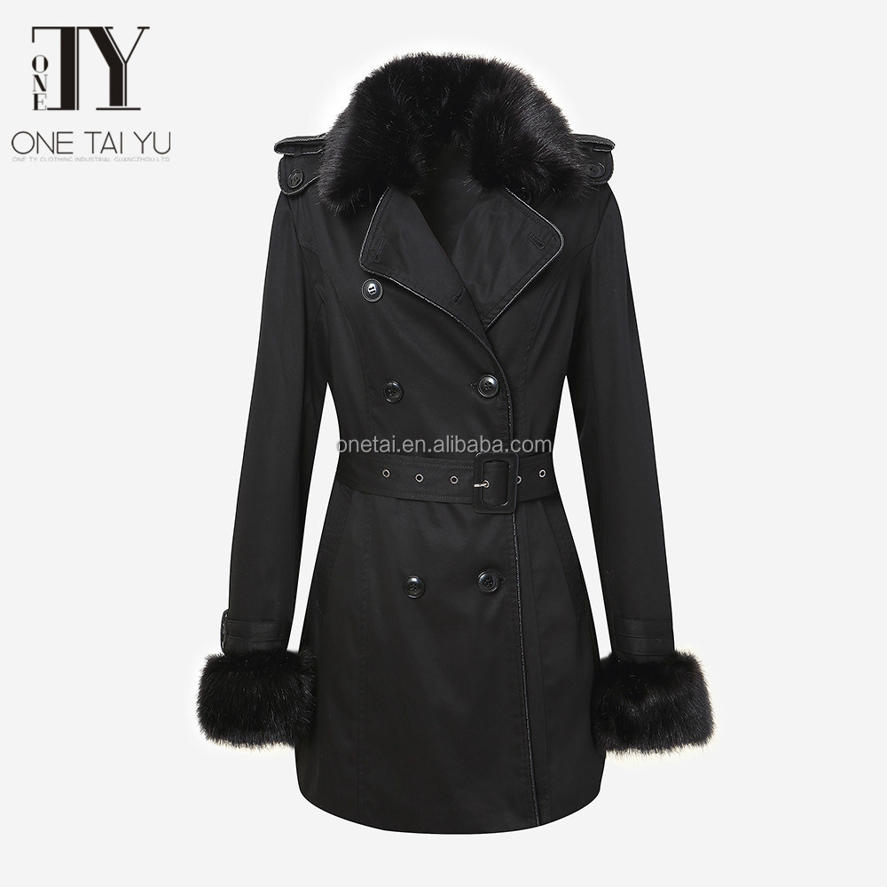 2017 eruopean youth Ladies Long Sleeve Casual Double-breasted black Trench Coat in winner