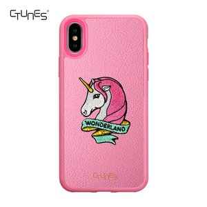 CTUNES Embroidery Unicorn Print TPU + PU Protective Phone Cases Cover for iPhone X