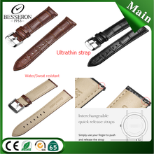 wholesale changeable interchangeable quick release genuine leather band thin wrist watch straps black brown cowhide leather band