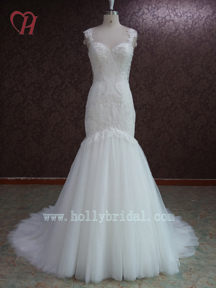 WD16023 HOT Sales Most Popular Backless Lace Mermaid Wedding Gown With Long Trail