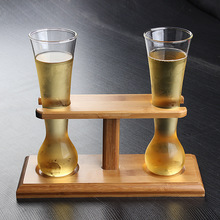14oz Yard of Ale Glass With Bamboo Holder Set ( 2 pcs yard glass and 1 pc stand)