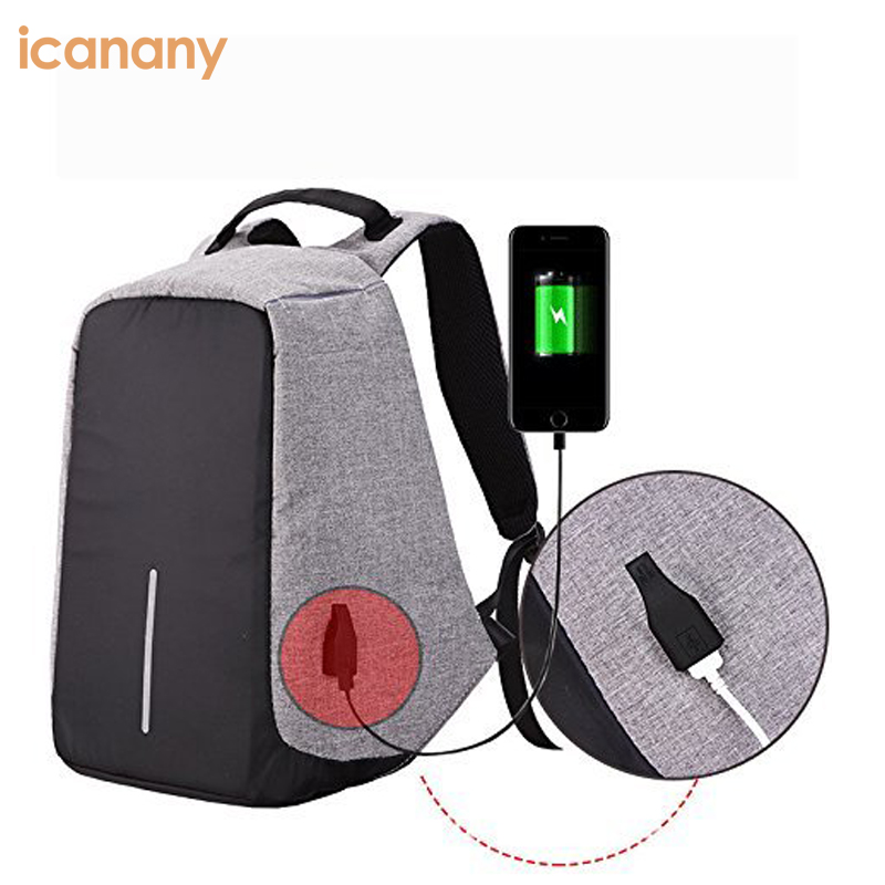 Waterproof reflective laptop school bag anti theft backpack with outer usb charger