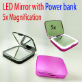 Factory OEM/ODM nice surface Power bank led mirror USB charge 5x magnify mirror