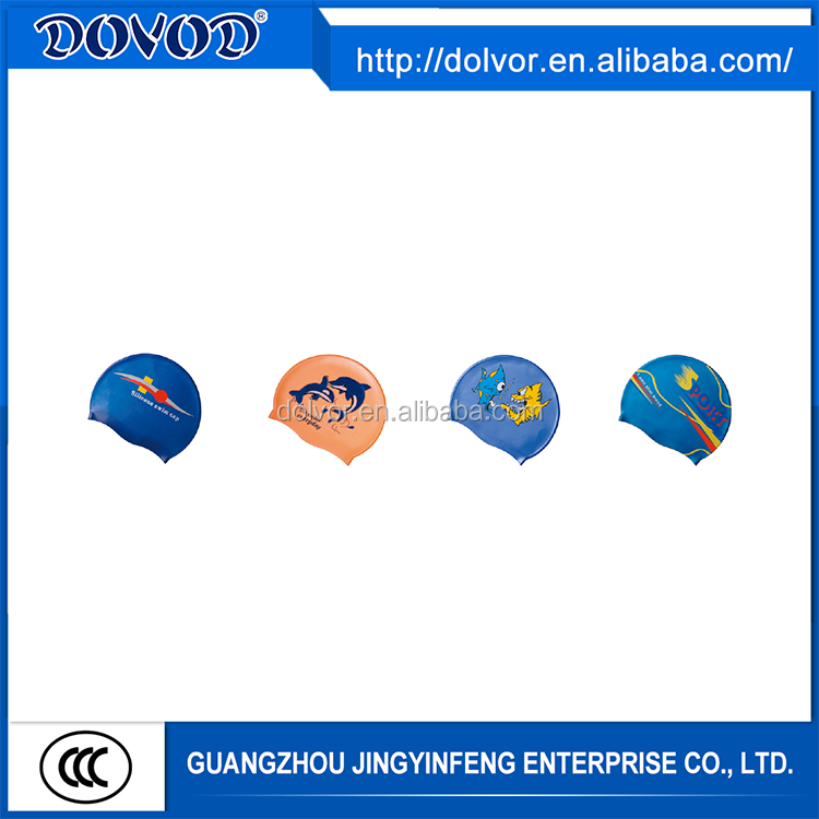 Customize printing logo brand swimming caps easy cleaning silicone swim cap