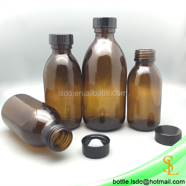 250ml 150ml 125ml 100ml 30ml 60ml oral liquid amber glass cough maple syrup bottles for Pharmaceutical Industry Use