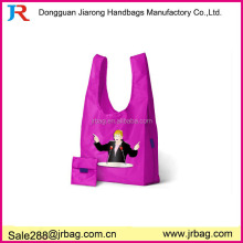 Useful school foldaway shopping bag with teacher logo,convenient foldable gym bag