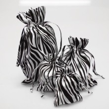 Zebra Print White Black Satin Pouch Gift Bag
