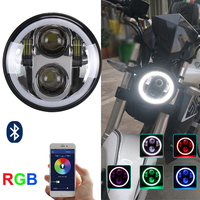 2017 Newest Black/Chrome 5.75inch RGB halo PMMA lens led motor headlight 40w Hi/Lo beam 12-30v for Har-ley motorcycles