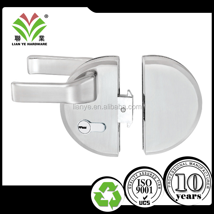High quality tempered frameless commercial handle door lock
