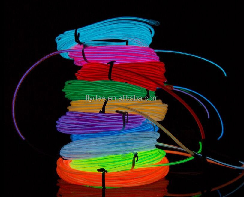 5M Flexible Neon Glow EL electroluminiscente Wire with Battery Inverter Pack for Christmas, Party, Wedding Decoration