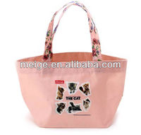 Newly polyester bag/ polyester tote bags/polyester shopping bag with wooden handles