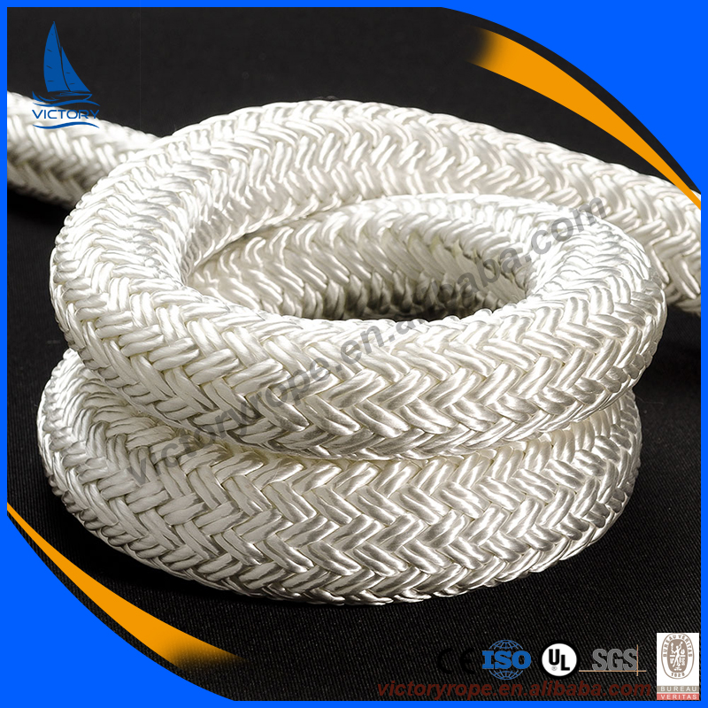 Wholesale white nylon pet polypropylene double braided dock line rope