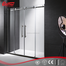 4 panel tempered glass sliding frameless shower doors