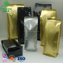 Wholesale Custom Aluminum Foil Coffee Bean Packing Bags with Valve /Printing side gusset coffee powder plastic packaging sachet