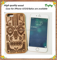 Bulk wholesale mobile phone cases real wood back cover custom logo image laser engrave wooden bamboo case for iphone6 Phone Case