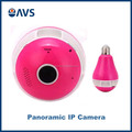 China Production Red Color 360 Degree Fisheye Bulb IP Camera Hidden Security Cameras