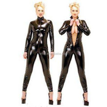 New Arrival Cheap Fashion Hot Black Plus Size Sexy Leather Catsuit