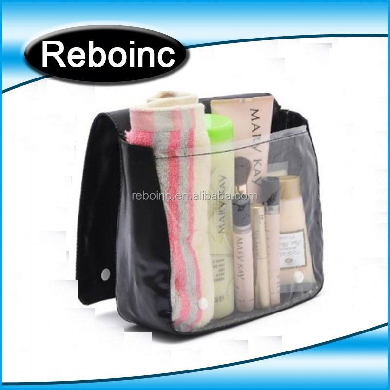 Wholesale Travel Hanging Hotel clear plastic zipper cosmetic bags/clear plastic toiletry bags
