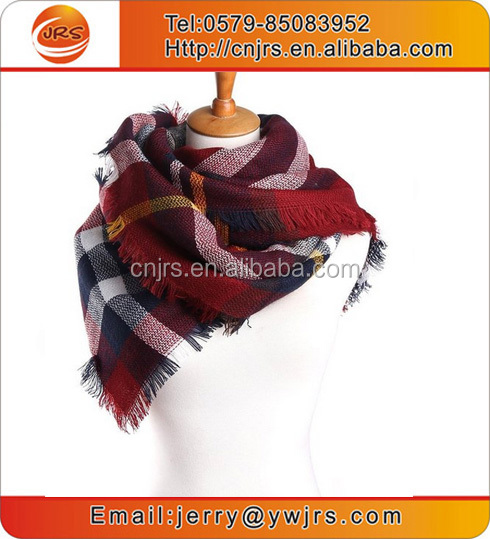 Yiwu factory customized women 100%acrylic knit plaid pashmina scarf checked cape dresses