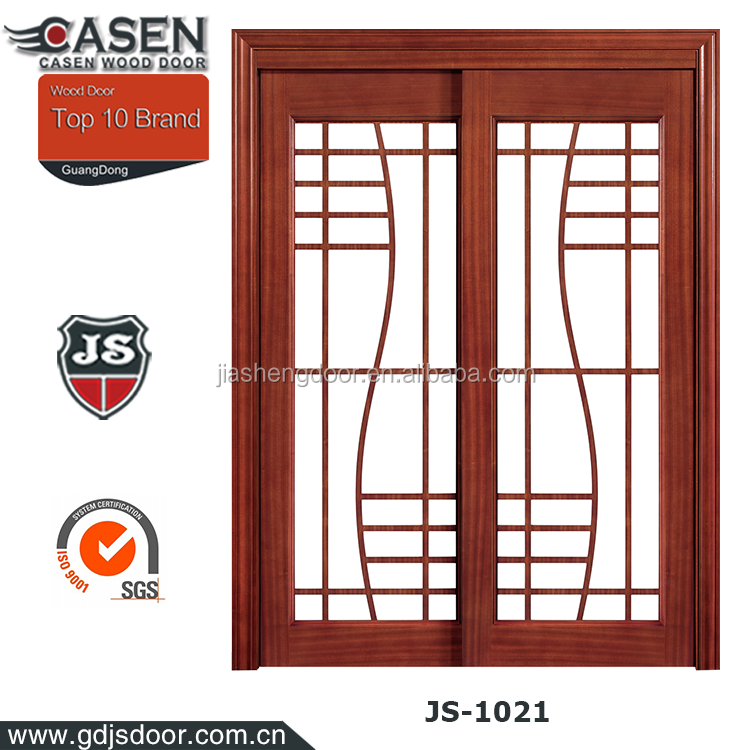 Sapele HDF interior glass double wooden french door from China factory