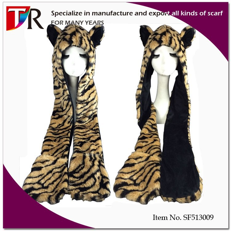 Custom Zoo Souvenir Gift Animal Hoods Brown Tiger Faux Animal Fur Hat